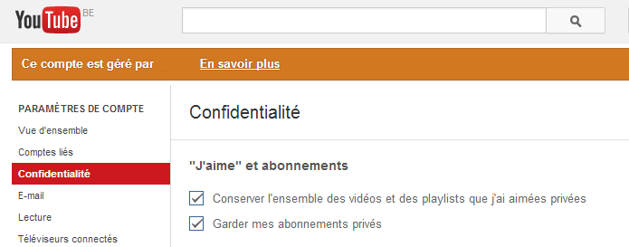 Youtube confidentialité